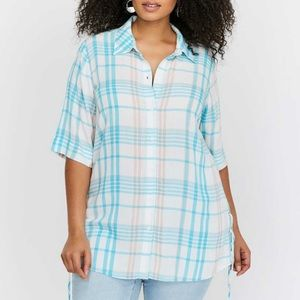 LIKE NEW L&L Essential Side Lace-Up Plaid Blouse